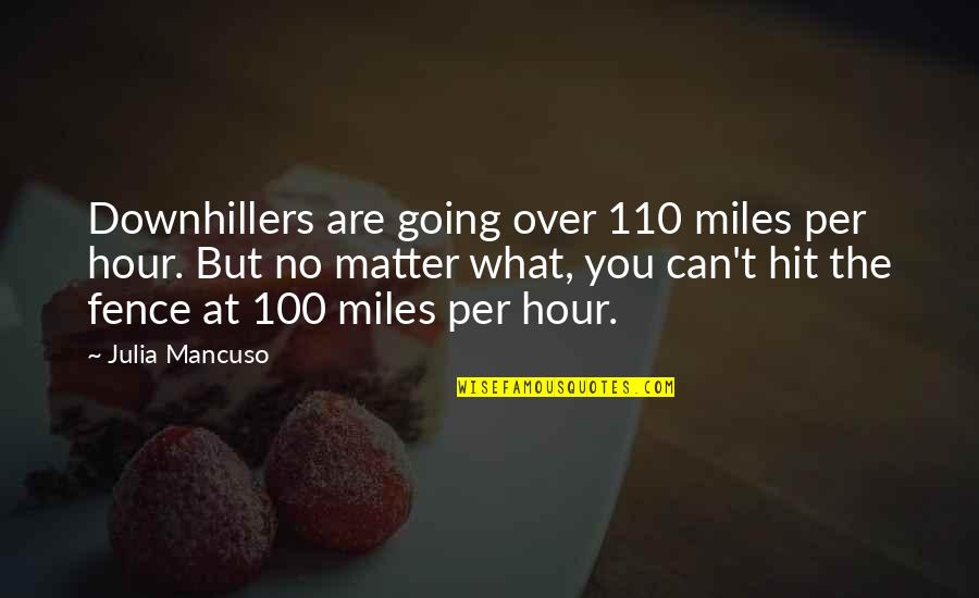 Greg Oden Quotes By Julia Mancuso: Downhillers are going over 110 miles per hour.