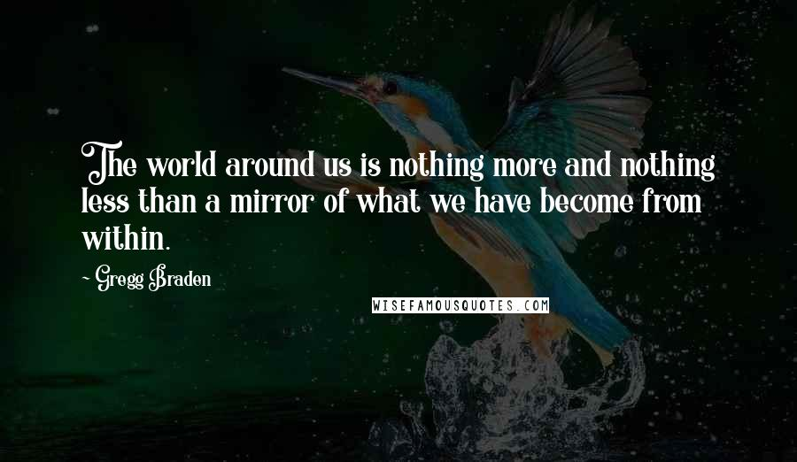 Gregg Braden quotes: The world around us is nothing more and nothing less than a mirror of what we have become from within.