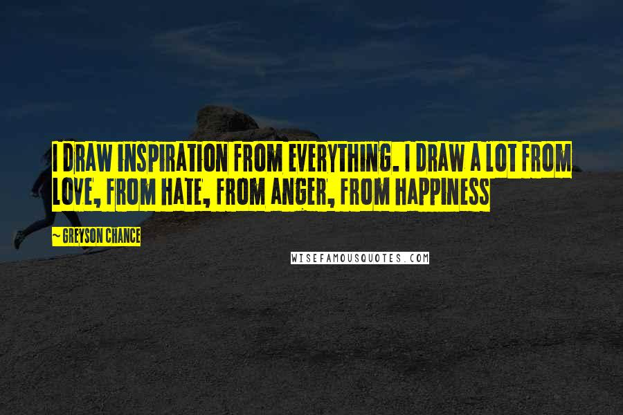 Greyson Chance quotes: I draw inspiration from everything. I draw a lot from love, from hate, from anger, from happiness