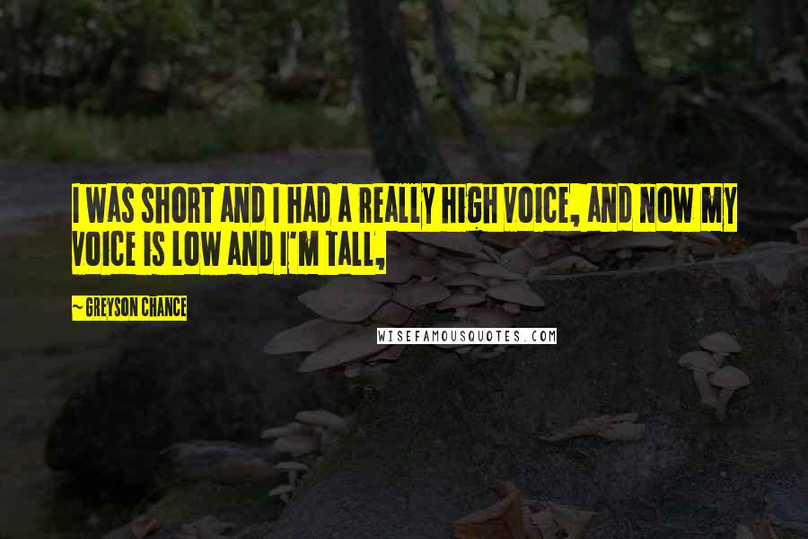 Greyson Chance quotes: I was short and I had a really high voice, and now my voice is low and I'm tall,