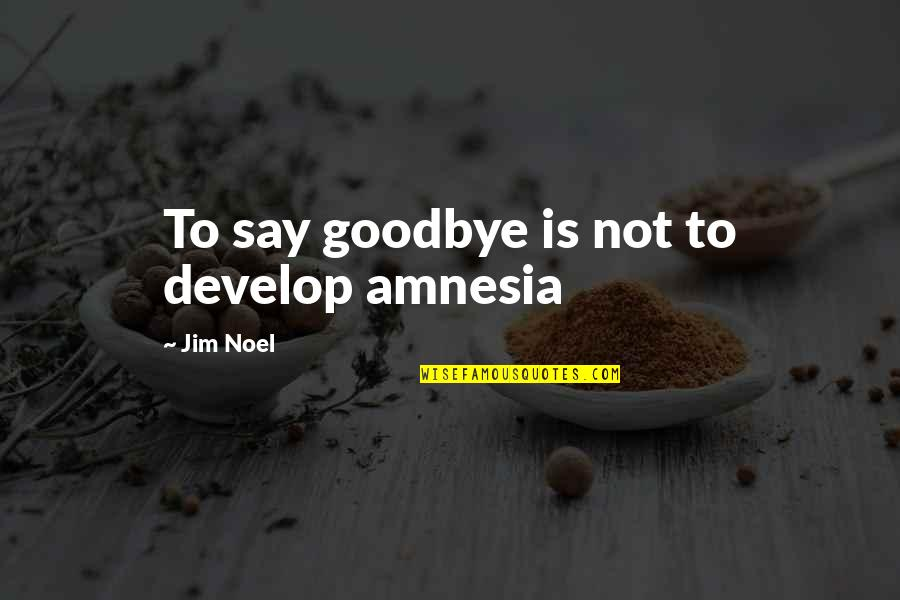 Grieving Quotes By Jim Noel: To say goodbye is not to develop amnesia