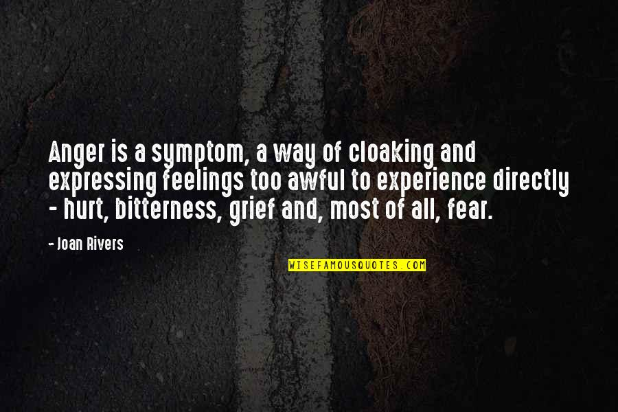 Grieving Quotes By Joan Rivers: Anger is a symptom, a way of cloaking