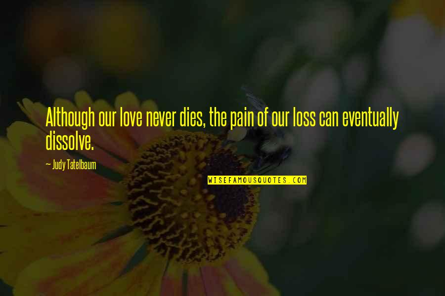Grieving Quotes By Judy Tatelbaum: Although our love never dies, the pain of