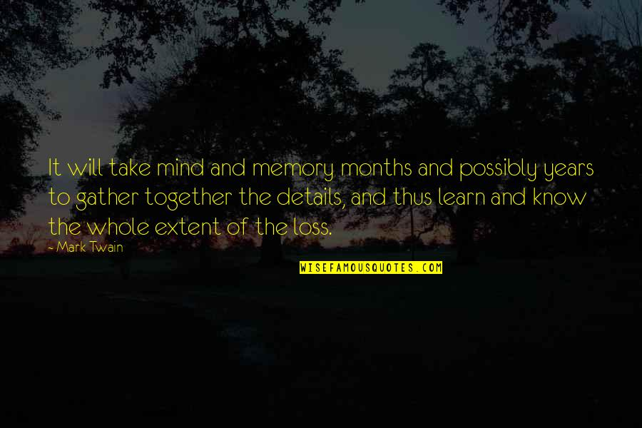 Grieving Quotes By Mark Twain: It will take mind and memory months and
