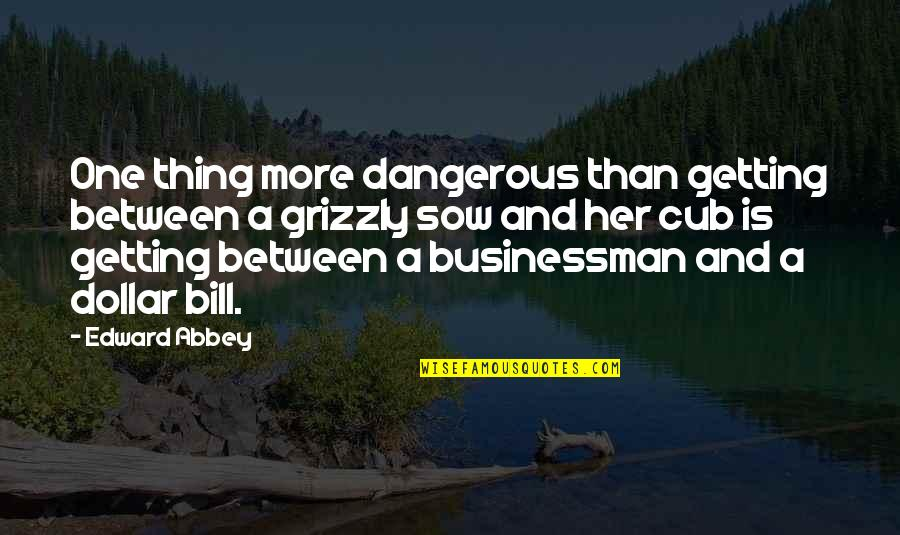 Grizzly's Quotes By Edward Abbey: One thing more dangerous than getting between a