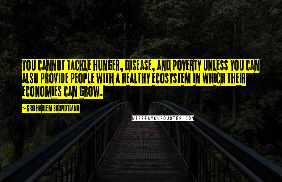 Gro Harlem Brundtland quotes: You cannot tackle hunger, disease, and poverty unless you can also provide people with a healthy ecosystem in which their economies can grow.