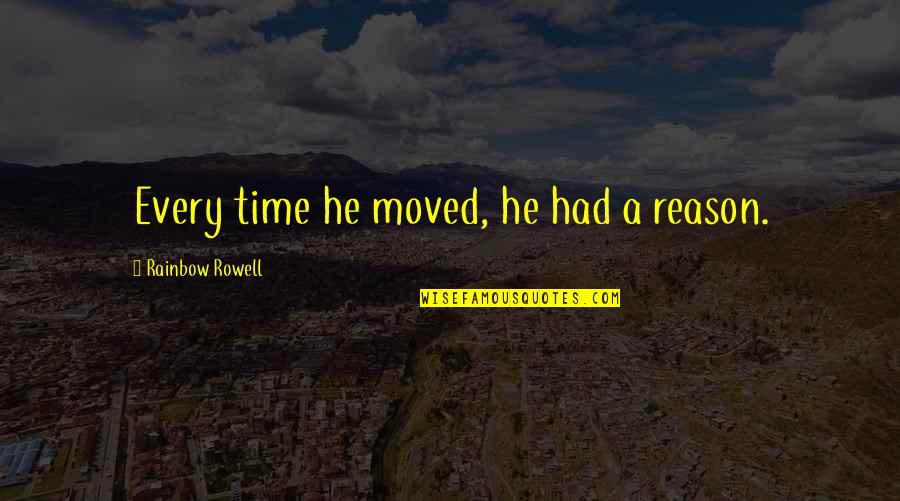 Groovy Three Single Quotes By Rainbow Rowell: Every time he moved, he had a reason.