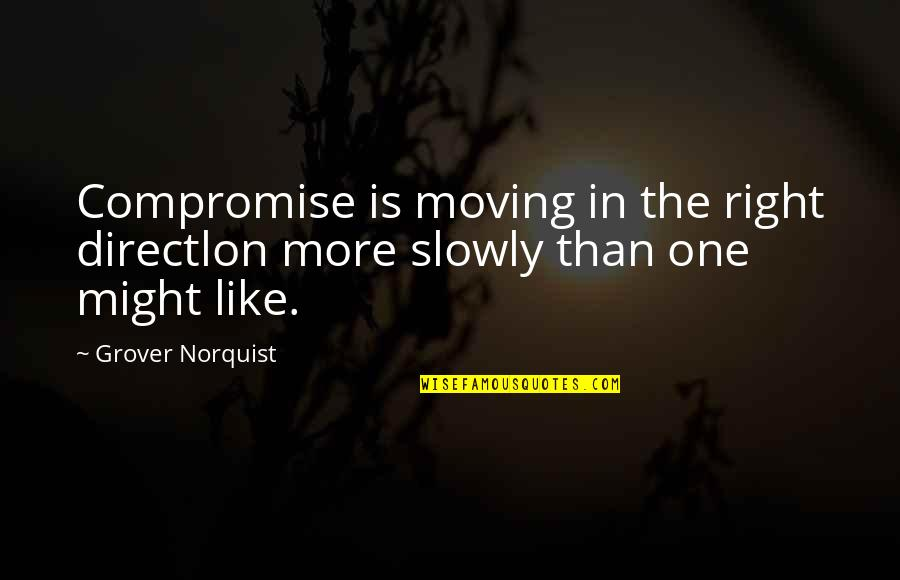 Grover Norquist Quotes By Grover Norquist: Compromise is moving in the right directlon more