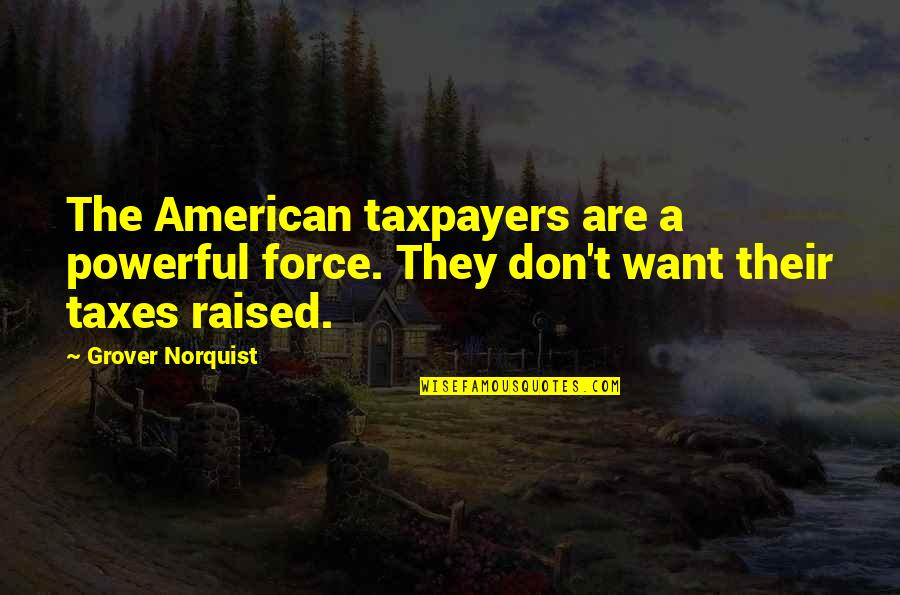 Grover Norquist Quotes By Grover Norquist: The American taxpayers are a powerful force. They