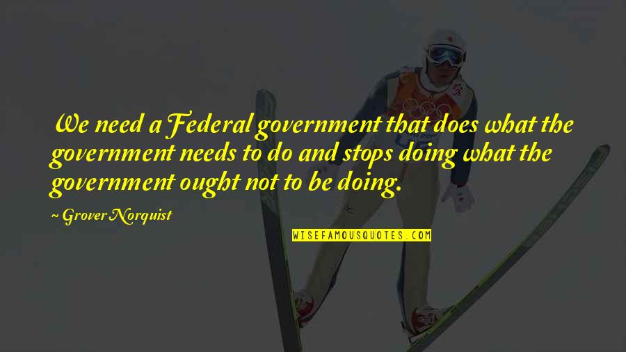 Grover Norquist Quotes By Grover Norquist: We need a Federal government that does what