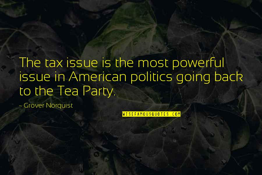 Grover Norquist Quotes By Grover Norquist: The tax issue is the most powerful issue
