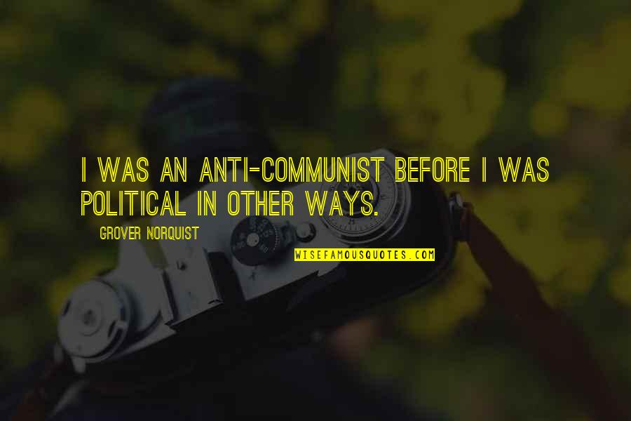 Grover Norquist Quotes By Grover Norquist: I was an anti-communist before I was political