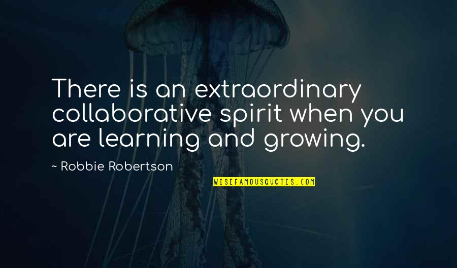Growing And Learning Quotes By Robbie Robertson: There is an extraordinary collaborative spirit when you