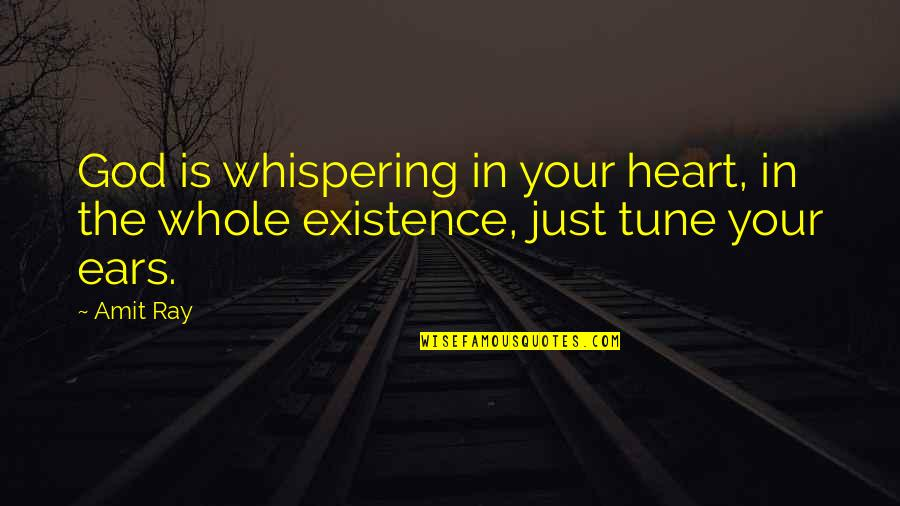 Growth In God Quotes By Amit Ray: God is whispering in your heart, in the