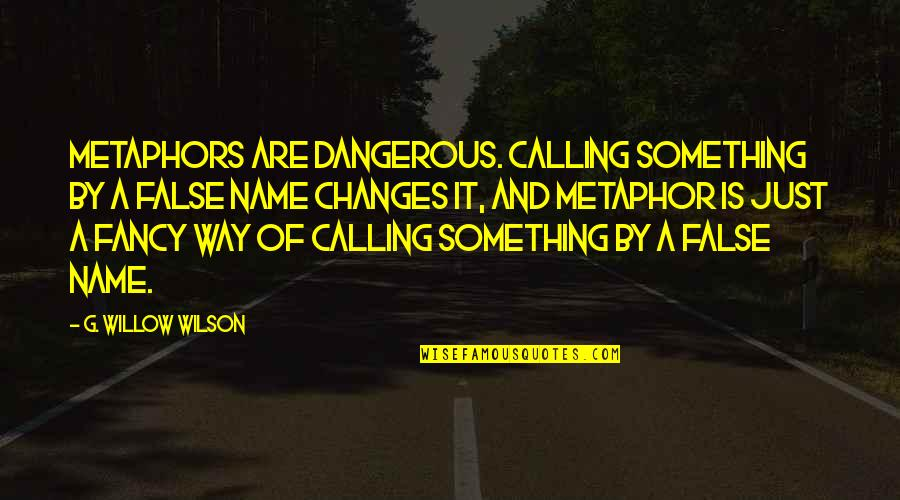 G'string Quotes By G. Willow Wilson: Metaphors are dangerous. Calling something by a false