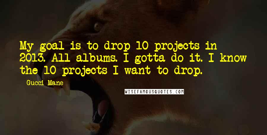 Gucci Mane quotes: My goal is to drop 10 projects in 2013. All albums. I gotta do it. I know the 10 projects I want to drop.