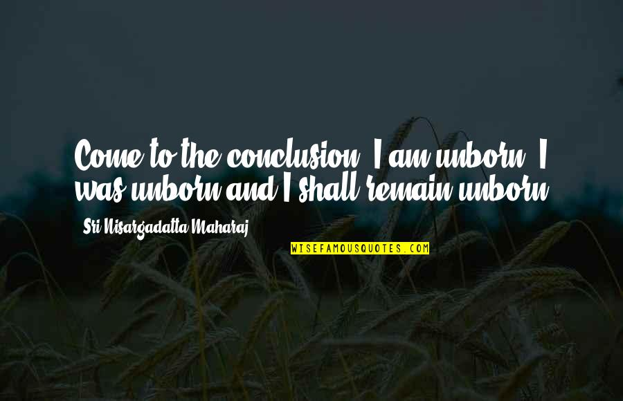 Gud Night With Love Quotes By Sri Nisargadatta Maharaj: Come to the conclusion: I am unborn, I