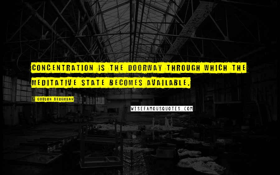 Gudjon Bergmann quotes: Concentration is the doorway through which the meditative state becomes available.