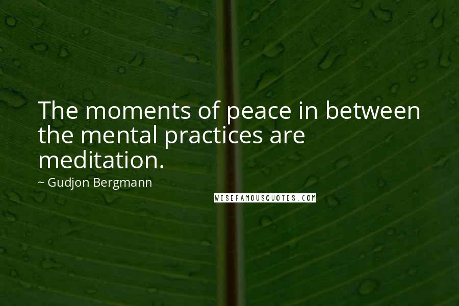 Gudjon Bergmann quotes: The moments of peace in between the mental practices are meditation.