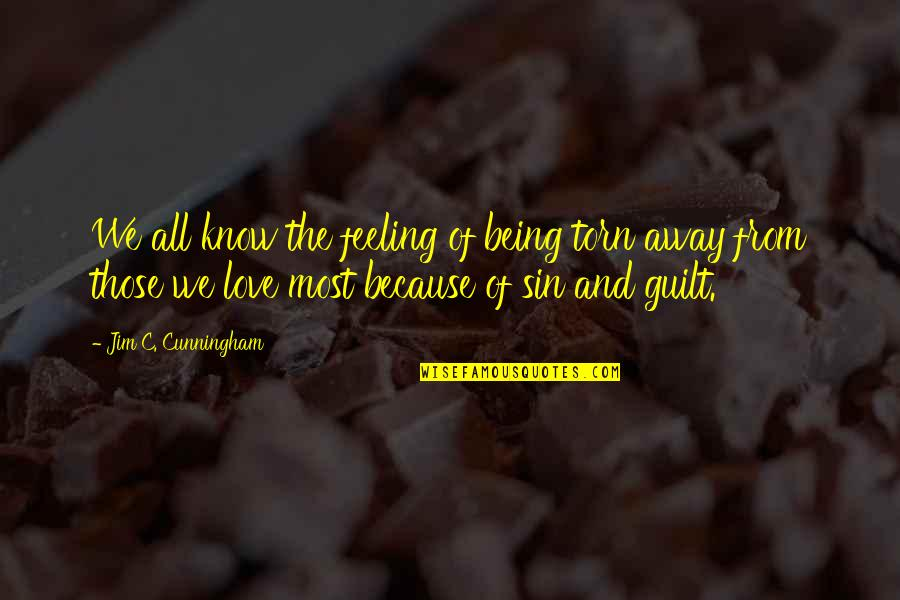 Guilt Feeling Quotes By Jim C. Cunningham: We all know the feeling of being torn
