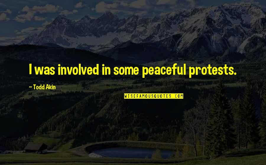 Guns And Government Quotes By Todd Akin: I was involved in some peaceful protests.