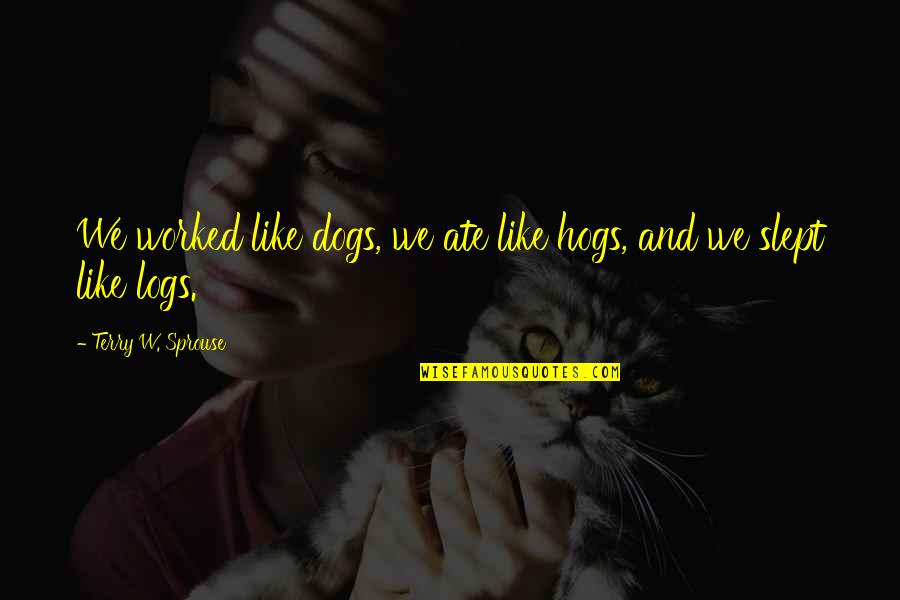 Gusto Ko Ng Girlfriend Quotes By Terry W. Sprouse: We worked like dogs, we ate like hogs,