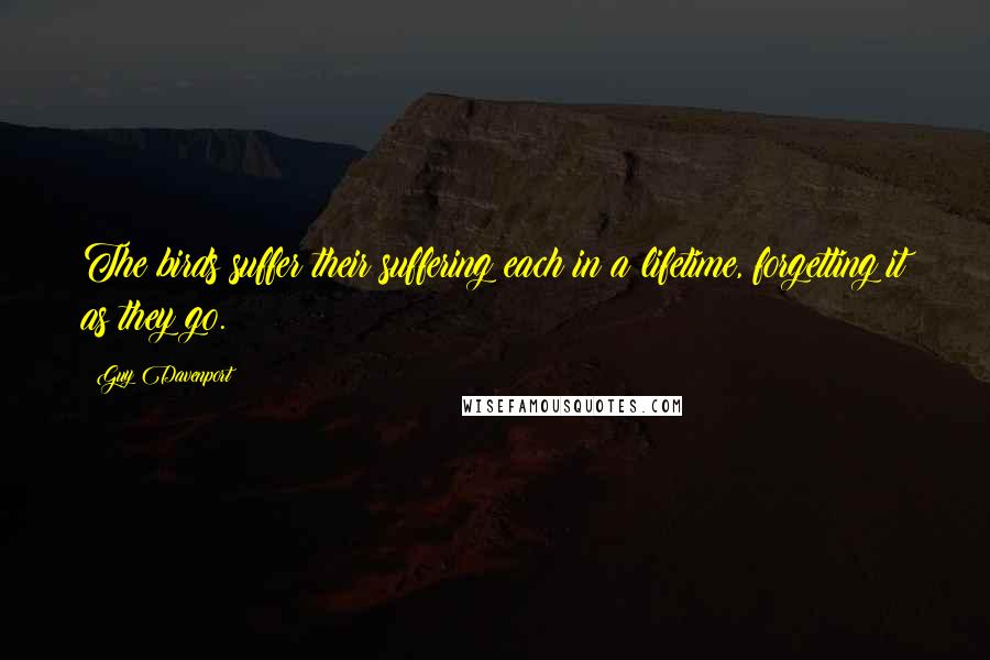 Guy Davenport quotes: The birds suffer their suffering each in a lifetime, forgetting it as they go.