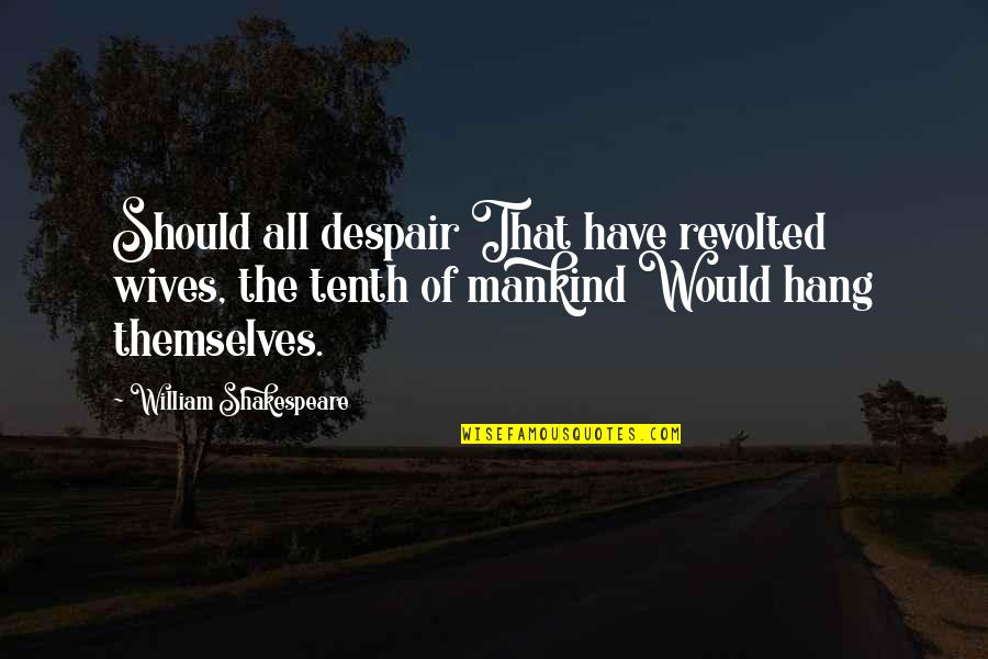 Guybrush Threepwood Character Quotes By William Shakespeare: Should all despair That have revolted wives, the