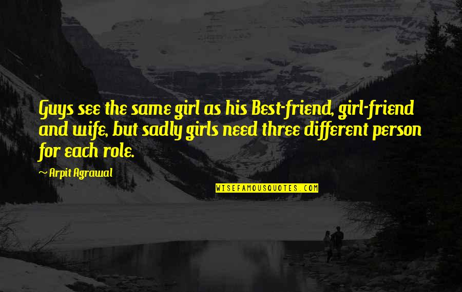Guys Are All The Same Quotes By Arpit Agrawal: Guys see the same girl as his Best-friend,