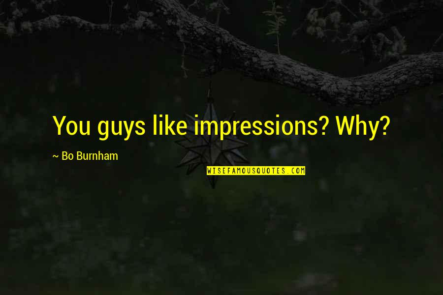 Guys Like You Quotes By Bo Burnham: You guys like impressions? Why?