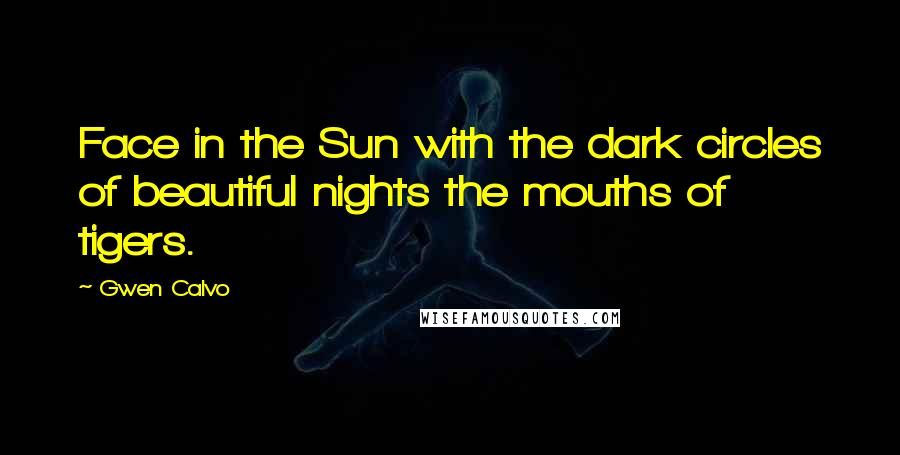 Gwen Calvo quotes: Face in the Sun with the dark circles of beautiful nights the mouths of tigers.