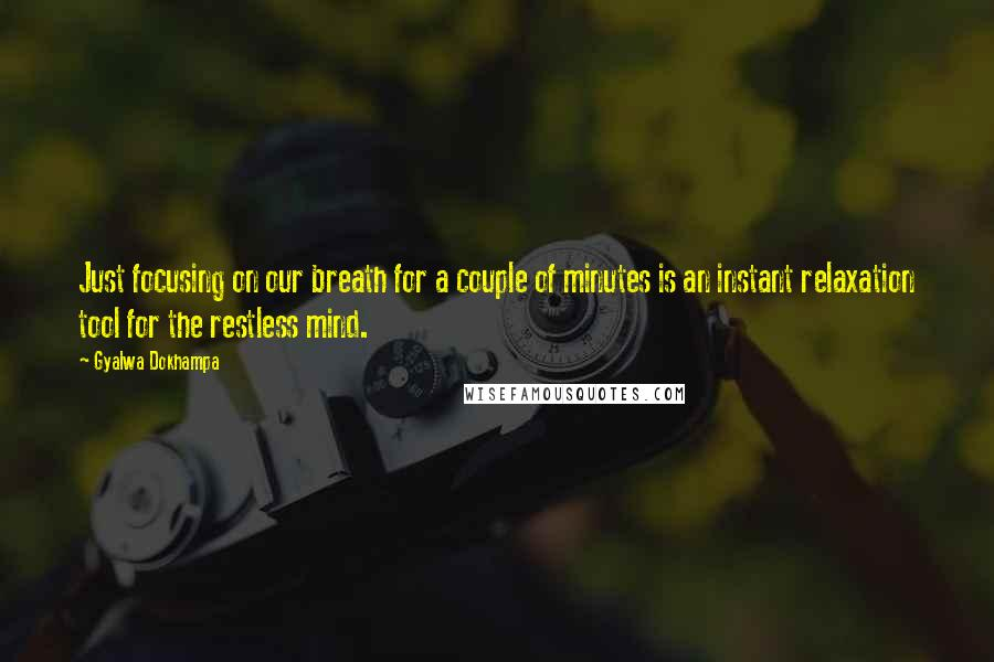 Gyalwa Dokhampa quotes: Just focusing on our breath for a couple of minutes is an instant relaxation tool for the restless mind.
