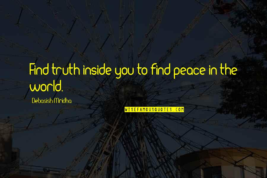Hafiz E Quran Quotes By Debasish Mridha: Find truth inside you to find peace in