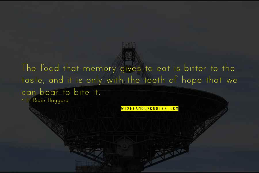 Haggard Quotes By H. Rider Haggard: The food that memory gives to eat is