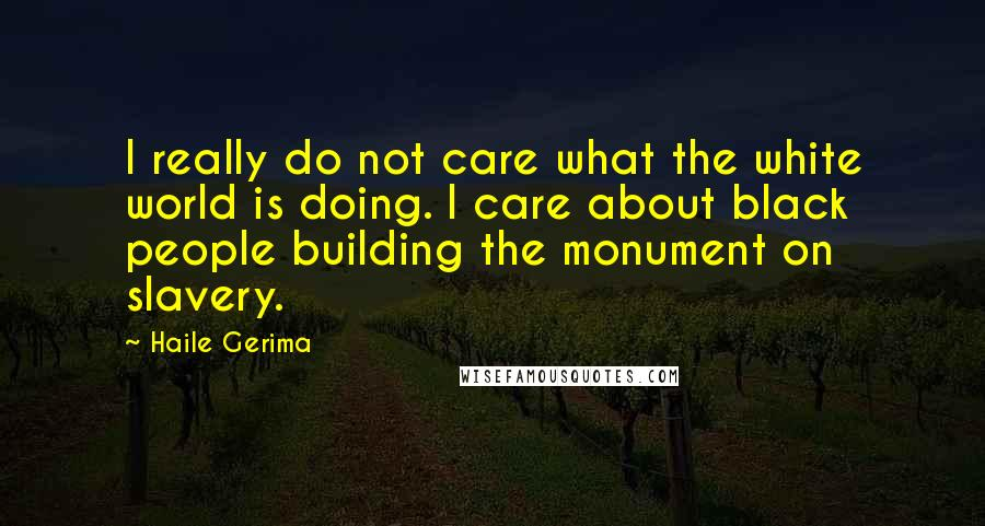 Haile Gerima quotes: I really do not care what the white world is doing. I care about black people building the monument on slavery.
