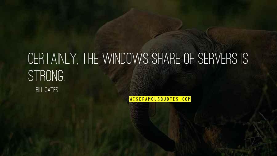 Halachic Quotes By Bill Gates: Certainly, the Windows share of servers is strong.