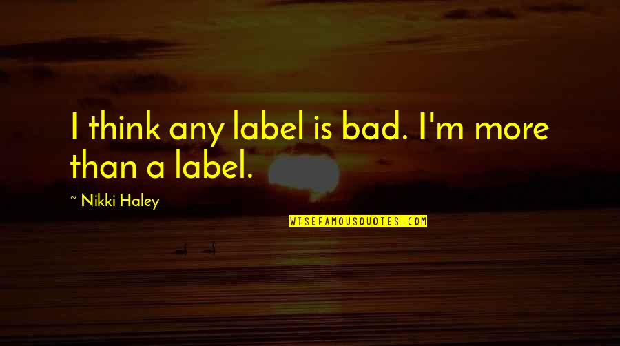Haley's Quotes By Nikki Haley: I think any label is bad. I'm more