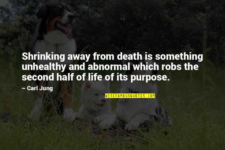 Half Life Quotes By Carl Jung: Shrinking away from death is something unhealthy and