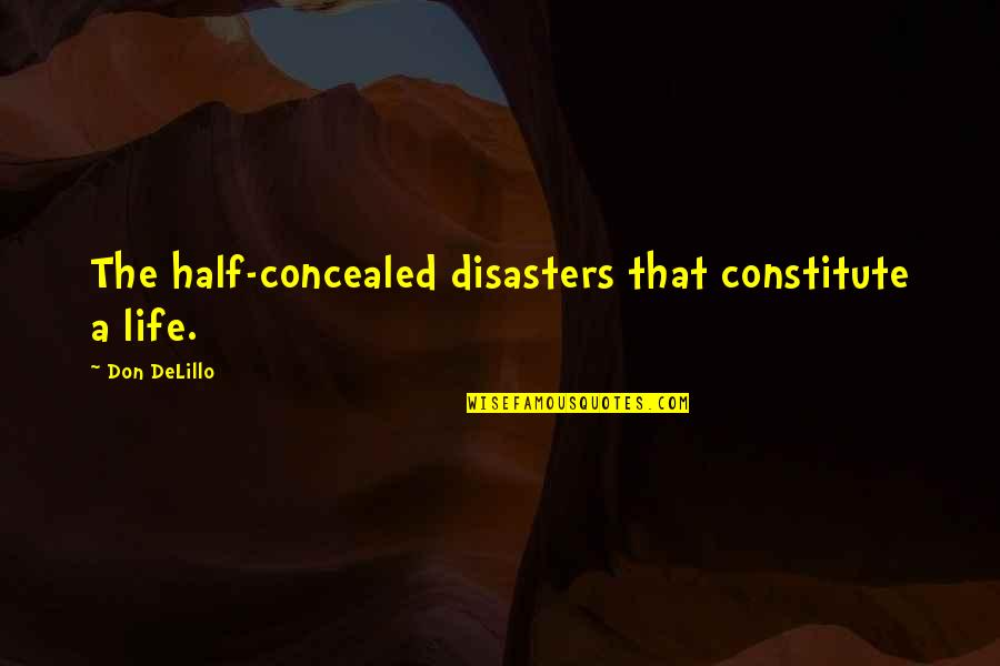 Half Life Quotes By Don DeLillo: The half-concealed disasters that constitute a life.