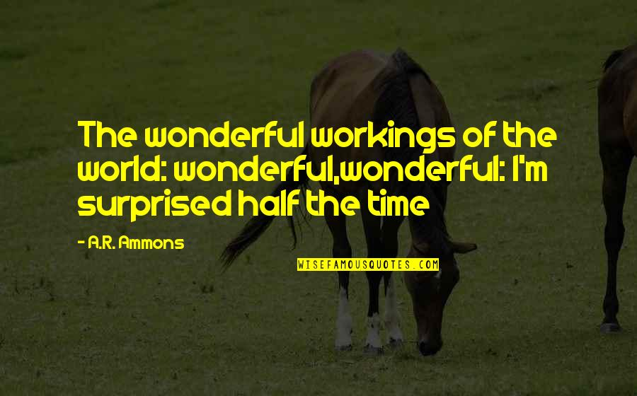 Half Quotes By A.R. Ammons: The wonderful workings of the world: wonderful,wonderful: I'm