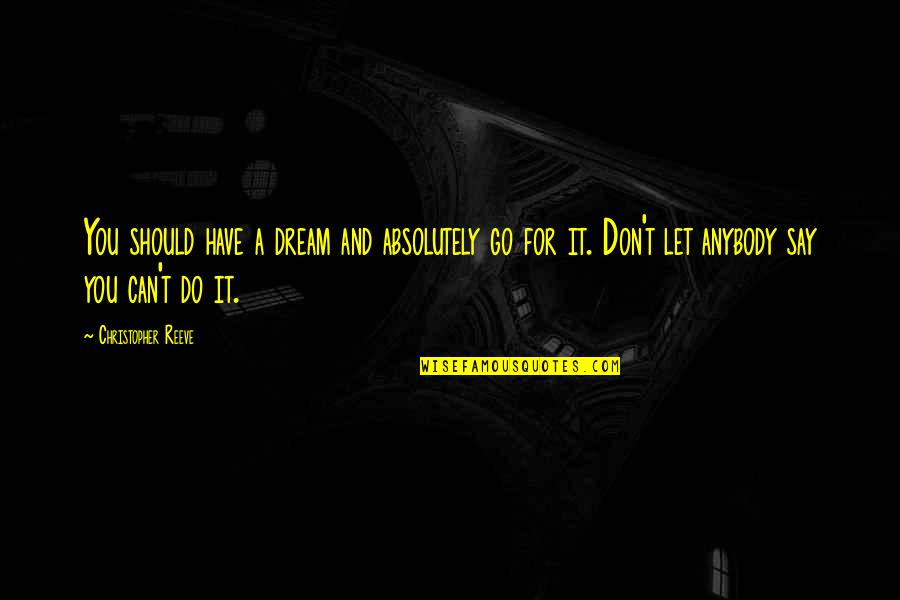 Half Way Through The Day Quotes By Christopher Reeve: You should have a dream and absolutely go