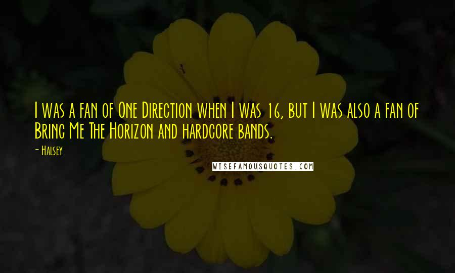 Halsey quotes: I was a fan of One Direction when I was 16, but I was also a fan of Bring Me The Horizon and hardcore bands.