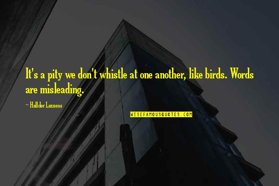 Hamlet And The Ghost Quotes By Halldor Laxness: It's a pity we don't whistle at one