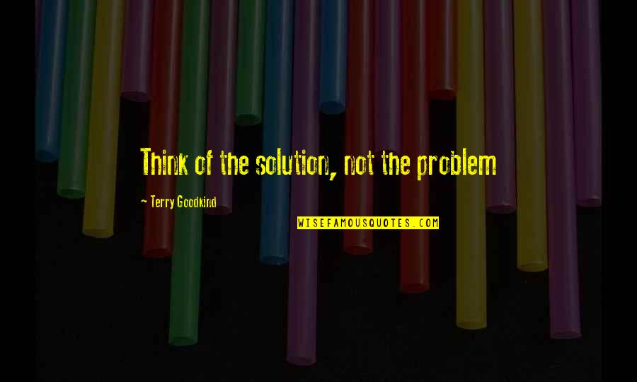 Handsom Quotes By Terry Goodkind: Think of the solution, not the problem