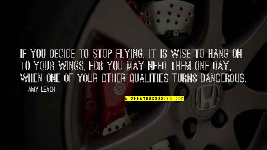 Hang On Quotes By Amy Leach: If you decide to stop flying, it is