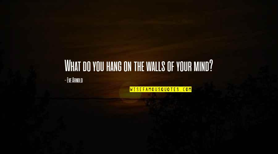 Hang On Quotes By Eve Arnold: What do you hang on the walls of