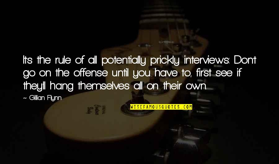 Hang On Quotes By Gillian Flynn: It's the rule of all potentially prickly interviews:
