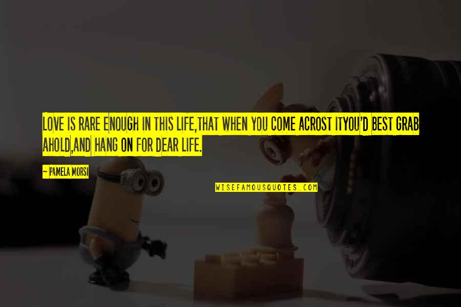 Hang On Quotes By Pamela Morsi: Love is rare enough in this life,that when