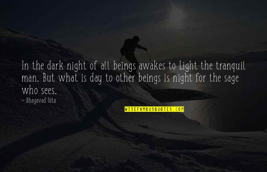 Hangry Quotes By Bhagavad Gita: In the dark night of all beings awakes