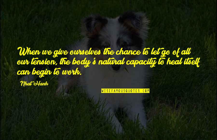Hanh's Quotes By Nhat Hanh: When we give ourselves the chance to let